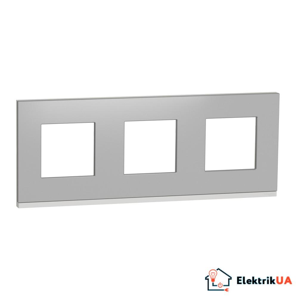 Рамка 3-постова, горизонтальна, алюміній матовий/білий