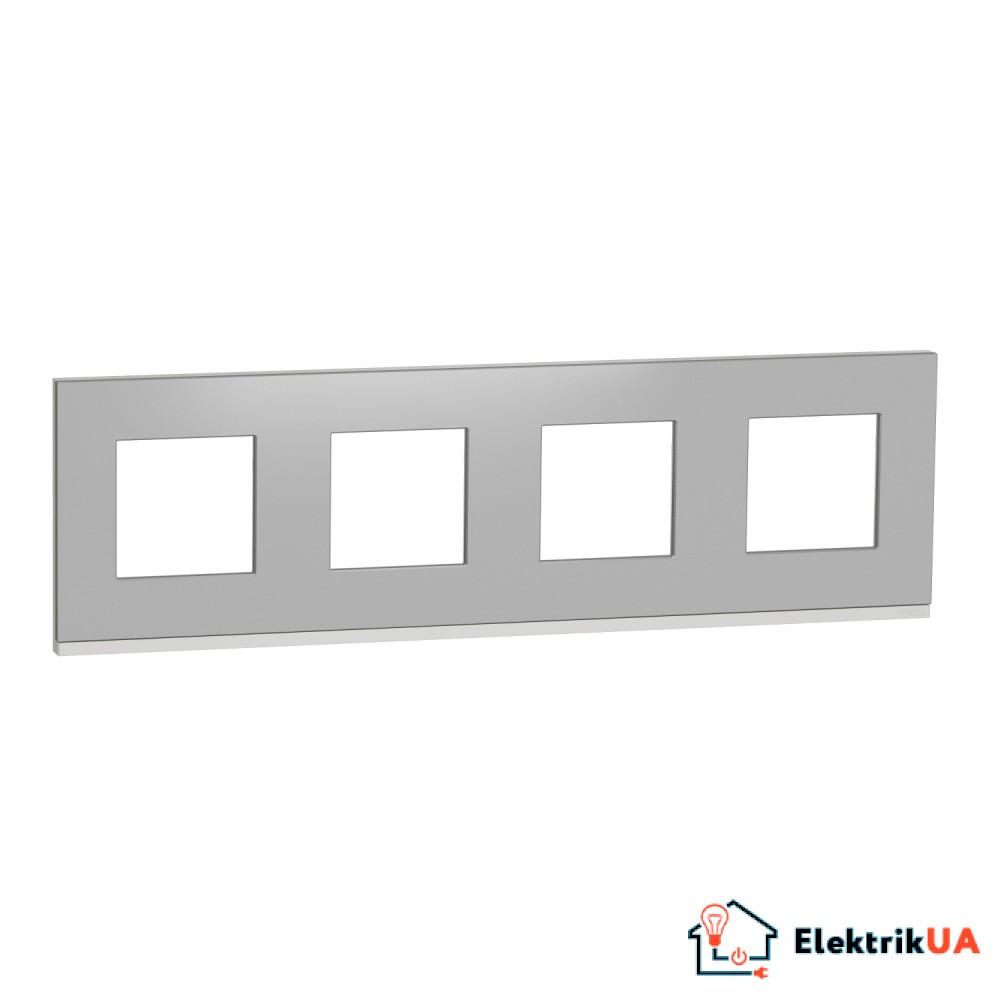 Рамка 4-постова, горизонтальна, алюміній матовий/білий