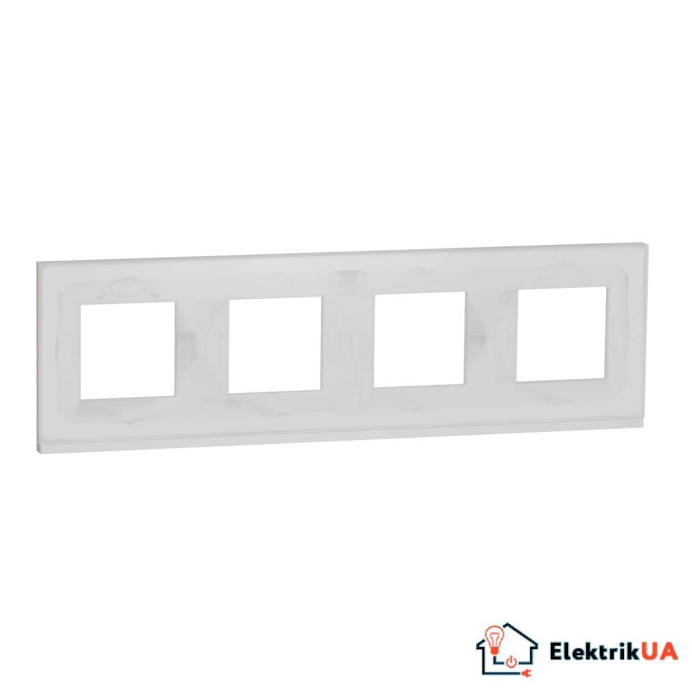 Рамка 4-постова, горизонтальна, Біле скло/білий