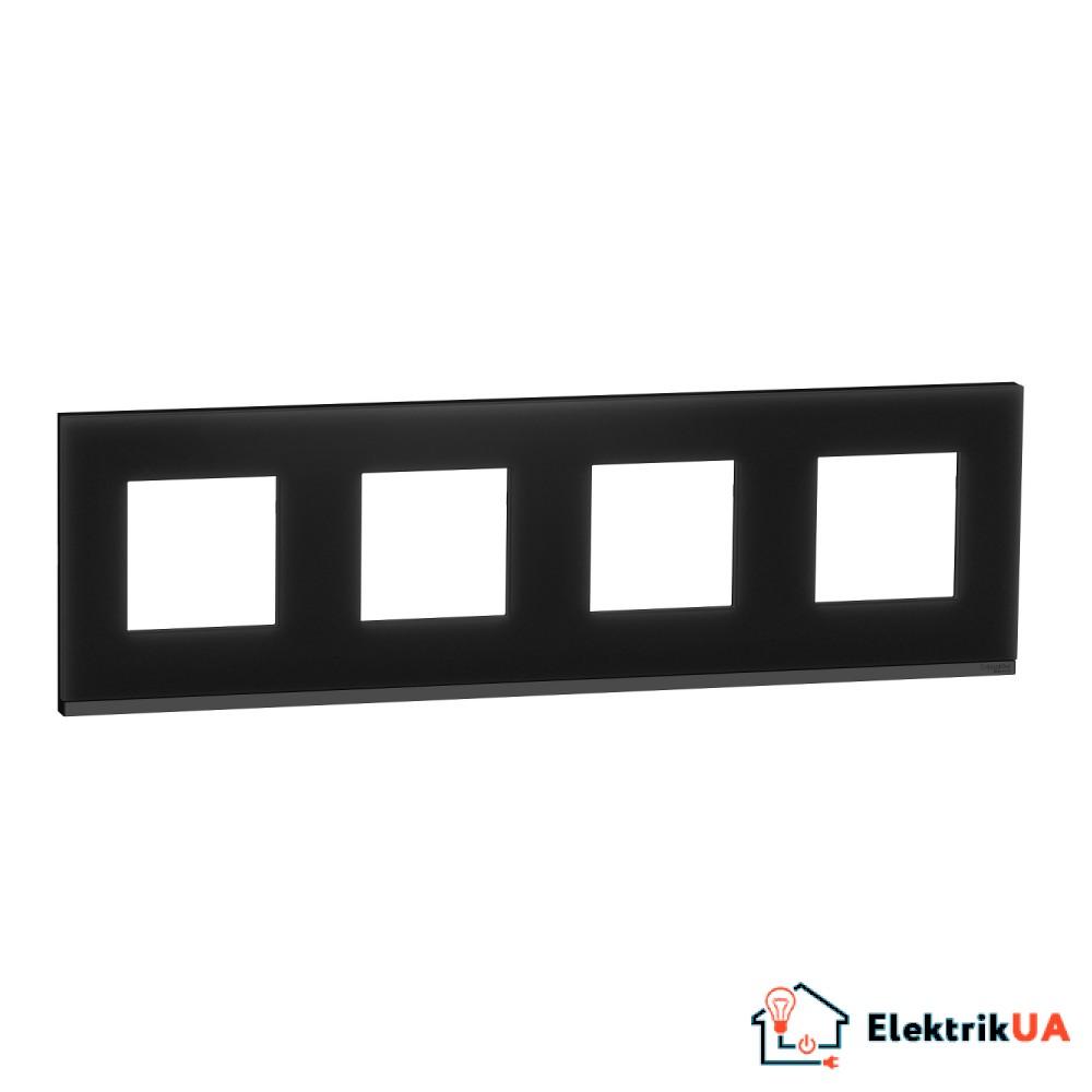 Рамка 4-постова, горизонтальна, Чорне скло/антрацит