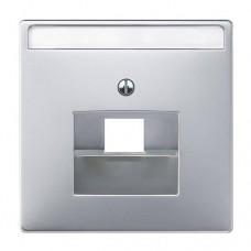 Панель розетки компьютерная + телефонная Merten SD Алюминий (MTN291860)