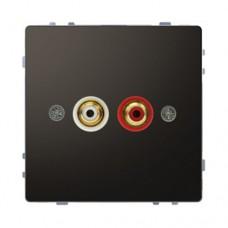Аудиорозетка с двумя гнездами тюльпан Merten D-Life Антрацит (MTN4350-6034)