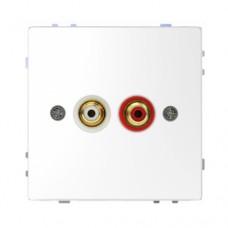 Аудиорозетка с двумя гнездами тюльпан Merten D-Life Белый лотос (MTN4350-6035)