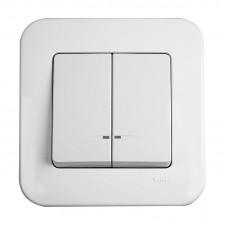 Выключатель с подсветкой двухклавишный VIKO Rollina Белый (90420050)