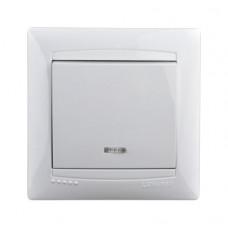Выключатель с подсветкой одноклавишный Lemanso Сакура Белый (LMR1004)