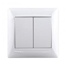 Выключатель двухклавишный Lemanso Сакура Белый (LMR1005)