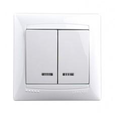 Выключатель с подсветкой двухклавишный Lemanso Сакура Белый (LMR1007)