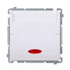 Выключатель гостиничный двухклавишный с подсветкой Simon Basic Белый (BMWH2.02/11)