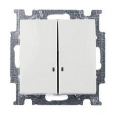 Выключатель двухклавишный с подсветкой ABB Basic55 10А Белый (2006/5 UCGL-94-507)