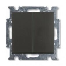Выключатель двухклавишный ABB Basic55 10A Черный шато (2006/5 UC-95-507)