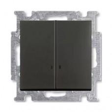 Выключатель двухклавишный с подсветкой ABB Basic55 10А Черный шато (2006/5 UCGL-95-507)