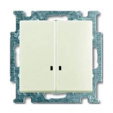 Выключатель двухклавишный с подсветкой ABB Basic55 10А Белый шале (2006/5 UCGL-96-507)