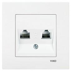 Розетка компьютерная + телефонная VIKO Karre Белый (90960035)