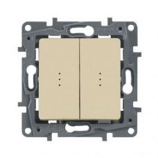 Выключатель двухклавишный проходной с подсветкой Legrand Etika 10A Слоновая кость (672316)