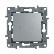 Выключатель двухклавишный проходной с подсветкой Legrand Etika 10A Алюминий (672416)