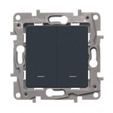 Выключатель двухклавишный с подсветкой Legrand Etika 10A Антрацит (672604)