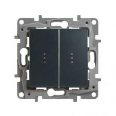 Выключатель двухклавишный проходной с подсветкой Legrand Etika 10A Антрацит (672616)