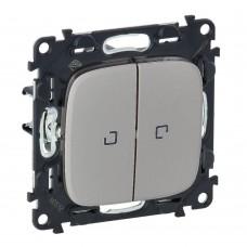 Выключатель проходной двухклавишный Legrand Valena Allure 10 А 250 В с подсветкой Алюминий (752909)