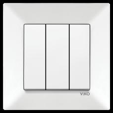 Выключатель 3-х клавишный VIKO Meridian Белый (90970168)