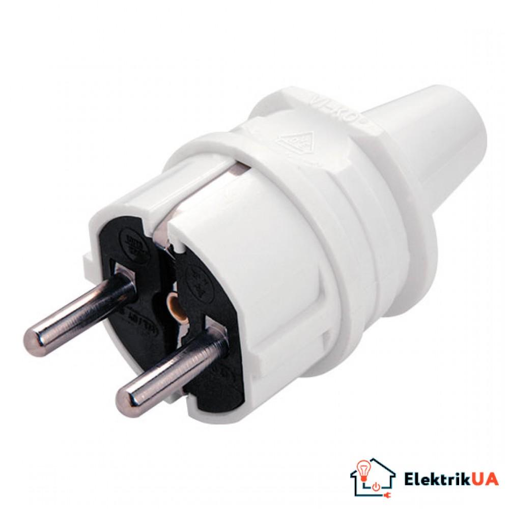 Вилка электрическая разборная VIKO с заземлением 16А/220В Белый (90304100)